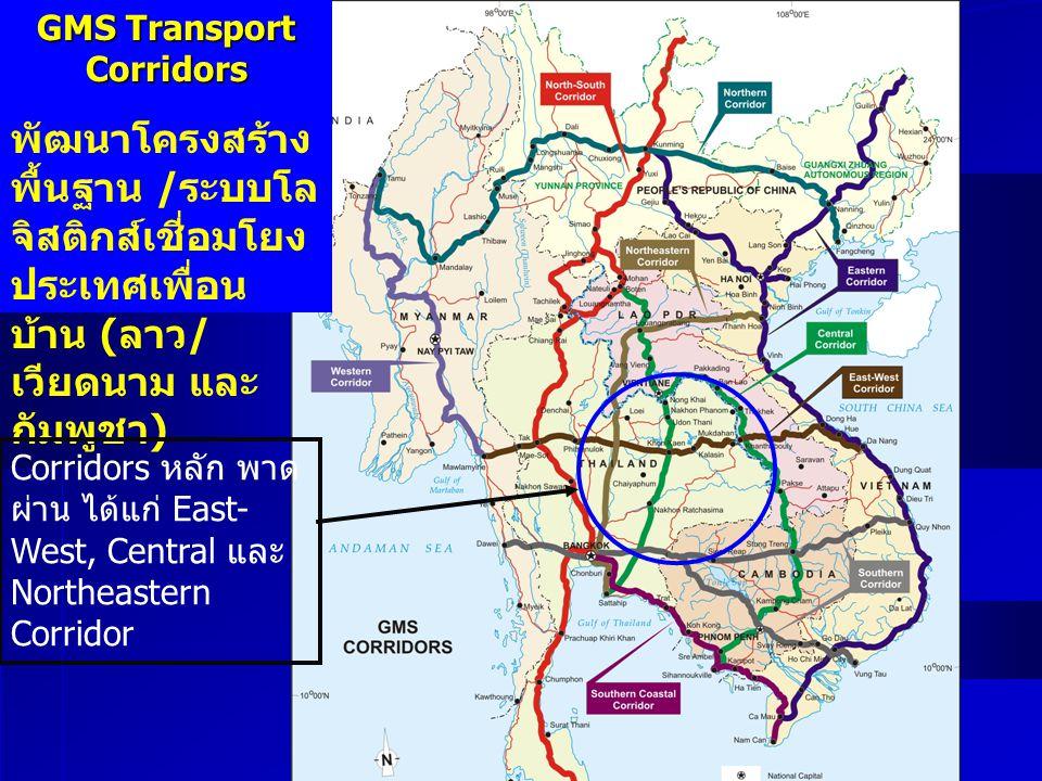 GMS Transport Corridors พัฒนาโครงสร้าง พื้นฐาน / ระบบโล จิสติกส์เชี่อมโยง ประเทศเพื่อน บ้าน ( ลาว / เวียดนาม และ กัมพูชา ) Corridors หลัก พาด ผ่าน ได้