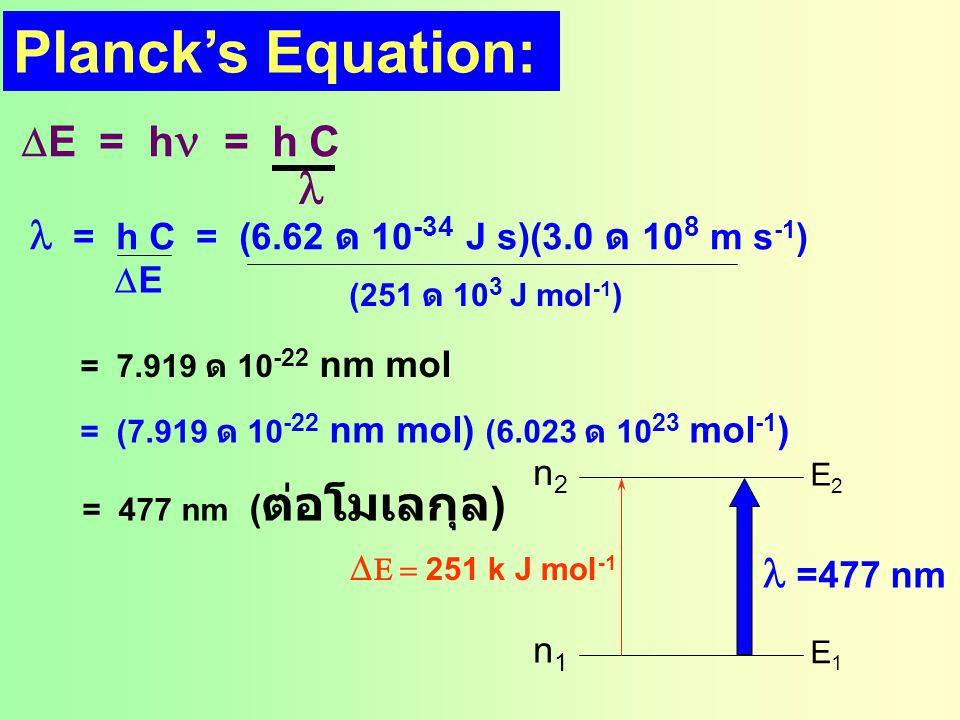 ที่ 7073 Kelvin : ป  0.014 n2n2 n1n1 นั่นคือ มีอนุภาคขึ้นไปอยู่ที่สภาวะเร้าได้ 1% ที่ 29 O C (302 Kelvin) RT ป  600 cal = e -100 =4 ด  10 -46 n2n2 n1n1