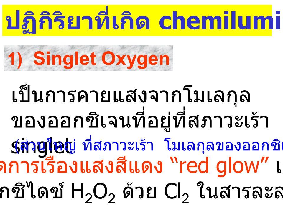 4. การเรืองแสงทางเคมี Chemical Activation Chemiluminescence M -  H M* M + h  สมการทั่วไป :  H * h 