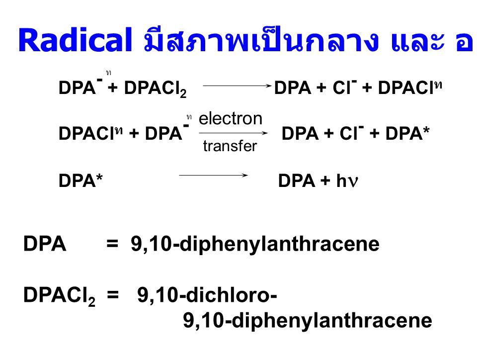 2) Electron Transfer Reactions (ET reaction) - ดึงอิเล็กตรอนออกจาก radical anion ของสารจำพวก polynuclear aromatic เช่น carbocyclic หรือ heterocyclic หรือ - เติมอิเล็กตรอนใน radical cation ( กรณีนี้ พบน้อยมาก )