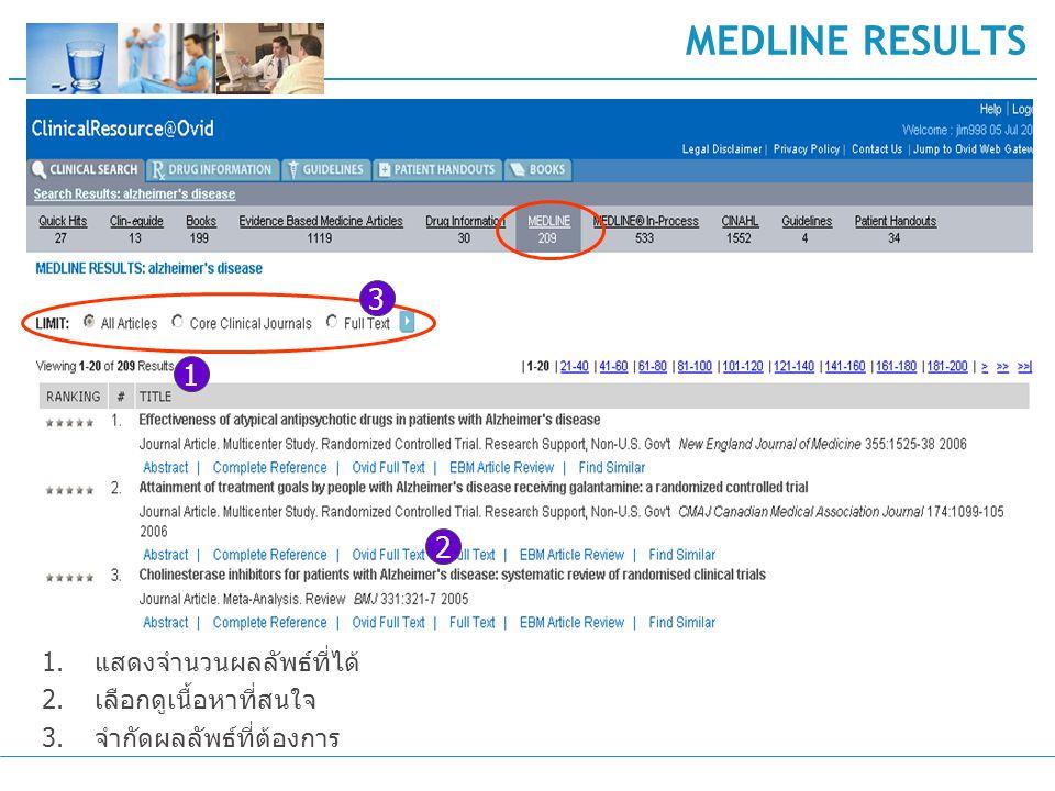 MEDLINE RESULTS 1.แสดงจำนวนผลลัพธ์ที่ได้ 2.เลือกดูเนื้อหาที่สนใจ 3.จำกัดผลลัพธ์ที่ต้องการ 1 2 3