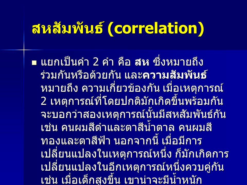 สหสัมพันธ์ (correlation)  แยกเป็นคำ 2 คำ คือ สห ซึ่งหมายถึง ร่วมกันหรือด้วยกัน และความสัมพันธ์ หมายถึง ความเกี่ยวข้องกัน เมื่อเหตุการณ์ 2 เหตุการณ์ที