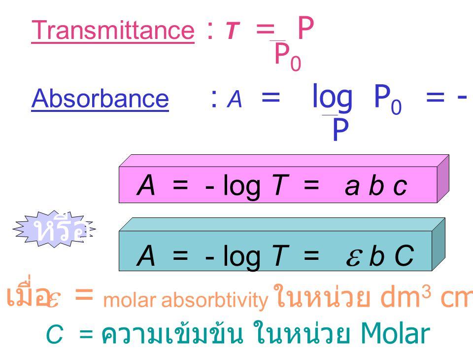 Lambert-Beer's Law P 0 P log = a b c a = Proportionality constant หรือ Absorptivity : หน่วยเป็น dm 3 m -1 g -1 b = ความหนาของเซลล์บรรจุสาร : หน่วยเป็น