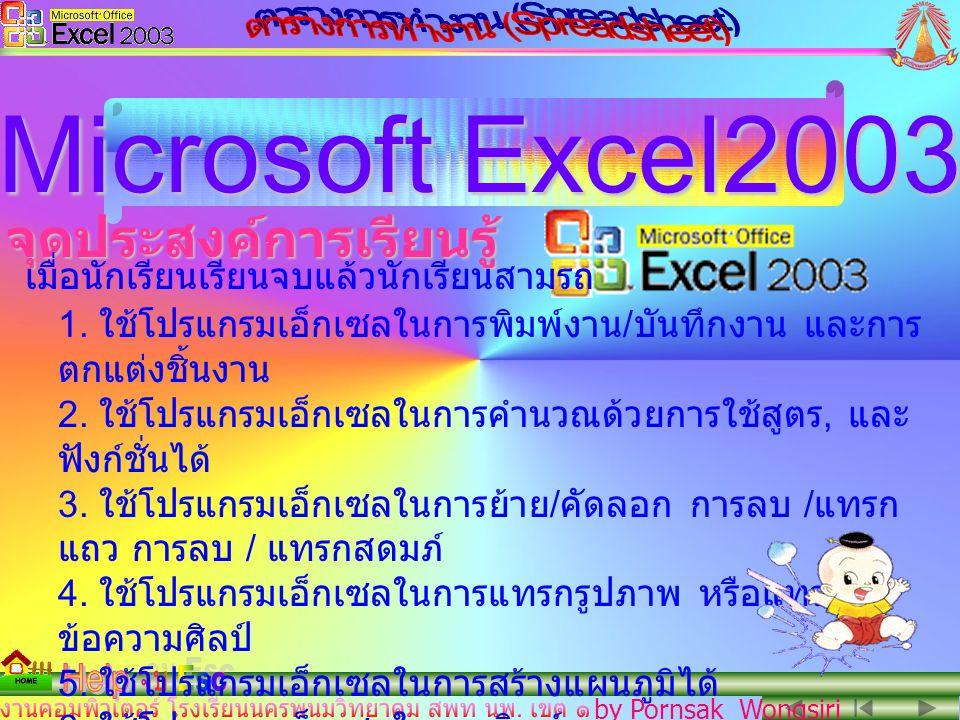 by Pornsak Wongsiri คำนำ Microsoft Excel2003 สื่อการสอนโปรแกรมชุด Microsoft Excel2003 จัดทำขึ้นเพื่อเป็นส่วนหนึ่งของการเรียน การสอน พื้นฐานทางคอมพิวเตอร์สำหรับ นักเรียนโรงเรียนนครพนมวิทยาคม และ ผู้สนใจทั่วไป Microsoft PowerPoint2003 การนำเสนอนี้สร้างจาก Microsoft PowerPoint2003 สื่อการเรียนนี้ หากมีข้อบกพร่อง / ผิดพลาดก็พร้อมรับและ แก้ไขให้สมบูรณ์ยิ่งขึ้นในโอกาสต่อไป นายพรศักดิ์ วงศ์ศิริ ครูชำนาญการพิเศษ ร.