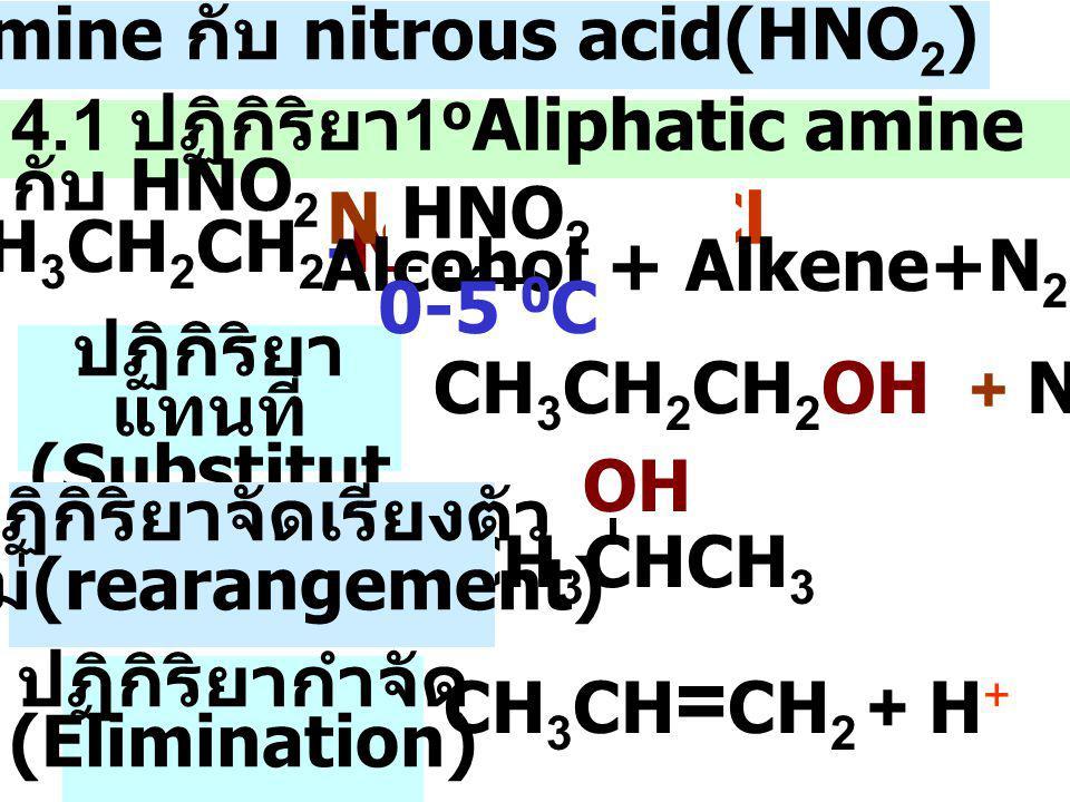 4.1 ปฏิกิริยา 1 o Aliphatic amine กับ HNO 2 CH 3 CH 2 CH 2 -NH 2 CH 3 CH = CH 2 + H + CH 3 CHCH 3 OH CH 3 CH 2 CH 2 OH + N 2 NaNO 2 + HCl HNO 2 ปฏิกิริยา แทนที่ (Substitut ion) ปฏิกิริยาจัดเรียงตัว ใหม่ (rearangement) ปฏิกิริยากำจัด (Elimination) 4.