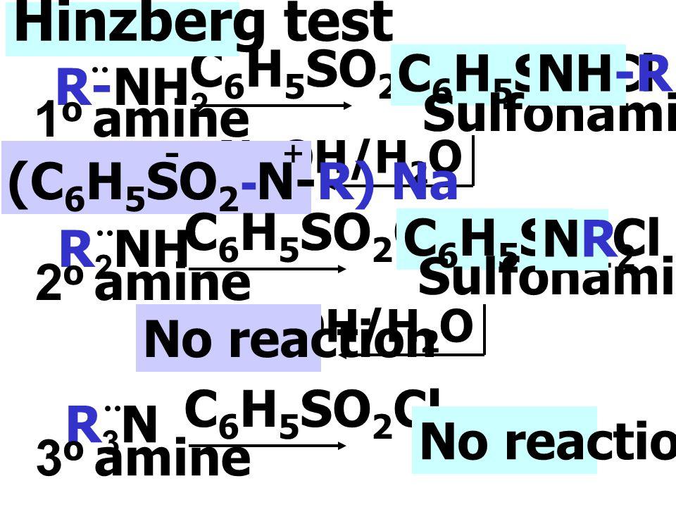 3. Hinzberg test เป็นปฏิกิริยาของ Amines กับ benzenesulfonyl chloride (C 6 H 5 SO 2 Cl) เป็นปฏิกิริยาทดสอบชนิดของ amines โดย 1 o และ 2 o amine สามารถท