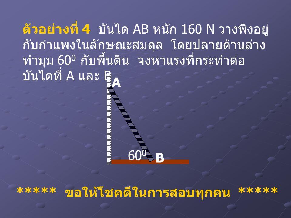 ตัวอย่างที่ 4 บันได AB หนัก 160 N วางพิงอยู่ กับกำแพงในลักษณะสมดุล โดยปลายด้านล่าง ทำมุม 60 0 กับพื้นดิน จงหาแรงที่กระทำต่อ บันไดที่ A และ B A B 60 0
