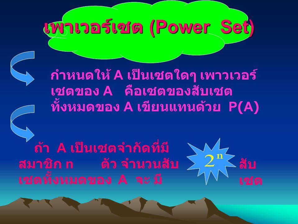 เพาเวอร์เซต (Power Set) กำหนดให้ A เป็นเซตใดๆ เพาวเวอร์ เซตของ A คือเซตของสับเซต ทั้งหมดของ A เขียนแทนด้วย P(A) ถ้า A เป็นเซตจำกัดที่มี สมาชิก n ตัว จำนวนสับ เซตทั้งหมดของ A จะ มี สับ เซต