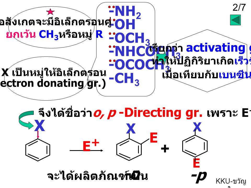 2/7 KKU- ขวัญ ใจ ถ้า X เป็นหมู่ให้อิเล็กตรอน (electron donating gr.) -NH 2 -OH -OCH 3 -NHCOCH 3 -OCOCH 3 -CH 3 E+E+ X เรียกว่า a ctivating gr. ทำให้ปฏ