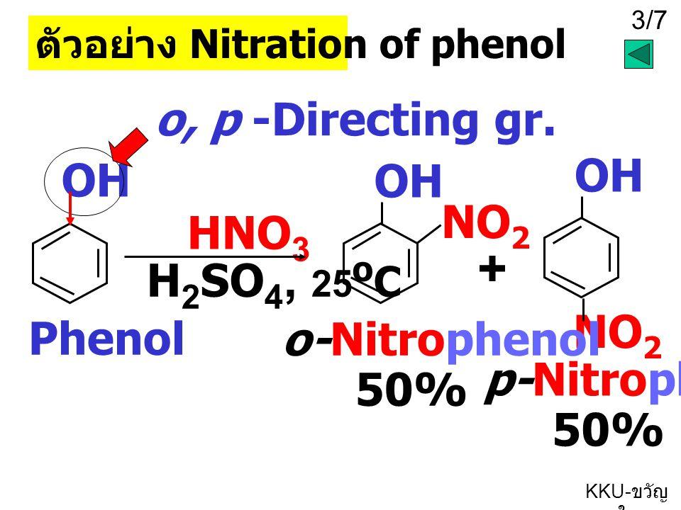 4/7 KKU- ขวัญ ใจ OH Phenol เหตุผลที่ E + เข้าที่ตำแหน่ง o และ p OH - + - + - + NO 2 + จะได้ผลิตภัณฑ์เป็น o- + p- สำหรับกลไกจะต้องมีพื้นฐานของ E + substitution of benzene ข้อสังเกตอิเล็กตรอน จะอยู่ที่ตำแหน่ง O และ P ก่อนเข้าจับกับ NO 2 + อิเล็กตรอนคู่ของ O จะ delocalize เข้าในวงเบนซีน แล้วเกิด delocalization