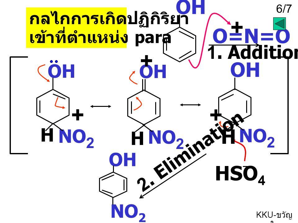 6/7 KKU- ขวัญ ใจ O=N=O + OH NO 2 OH H + NO 2 + H OH NO 2 + H กลไกการเกิดปฏิกิริยา เข้าที่ตำแหน่ง para 1. Addition HSO 4 2. Elimination OH NO 2