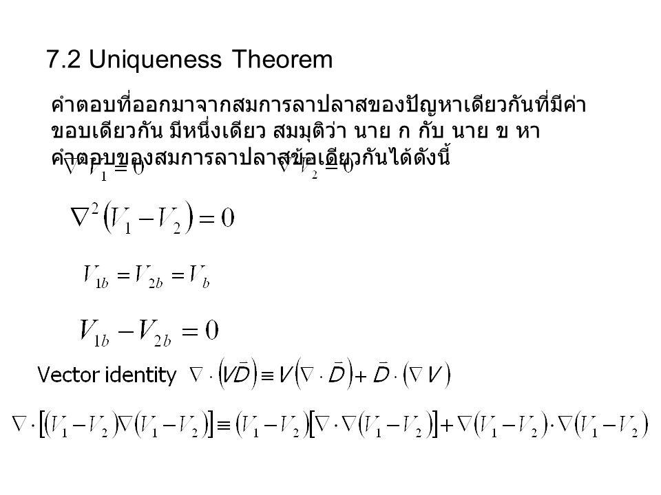 7.2 Uniqueness Theorem คำตอบที่ออกมาจากสมการลาปลาสของปัญหาเดียวกันที่มีค่า ขอบเดียวกัน มีหนึ่งเดียว สมมุติว่า นาย ก กับ นาย ข หา คำตอบของสมการลาปลาสข้