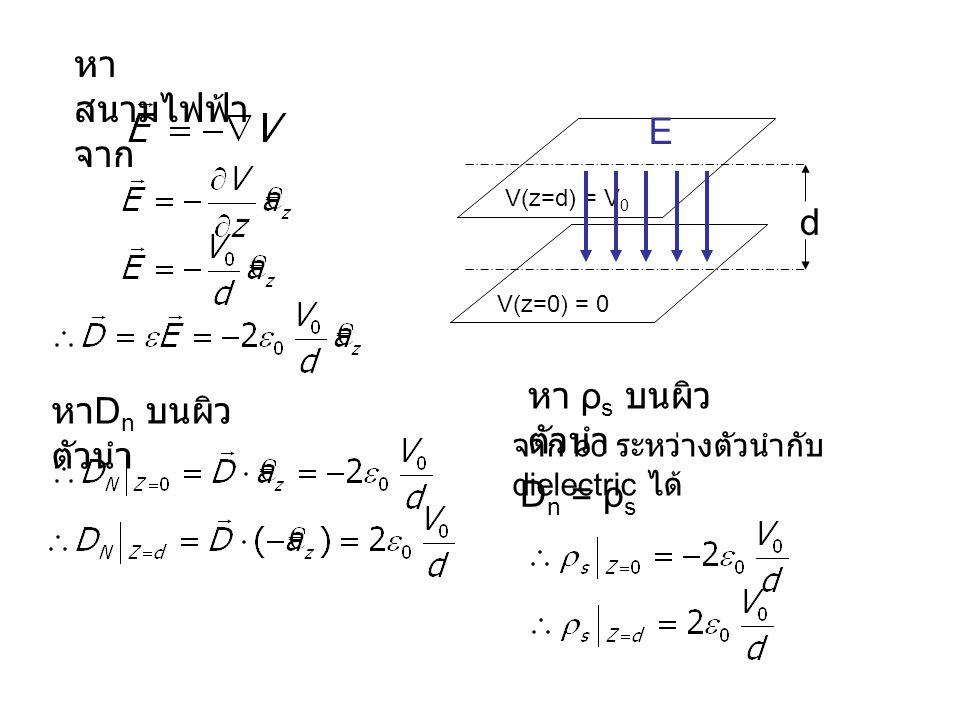 หา สนามไฟฟ้า จาก หา D n บนผิว ตัวนำ d V(z=0) = 0 V(z=d) = V 0 E หา ρ s บนผิว ตัวนำ จาก bc ระหว่างตัวนำกับ dielectric ได้ D n = ρ s