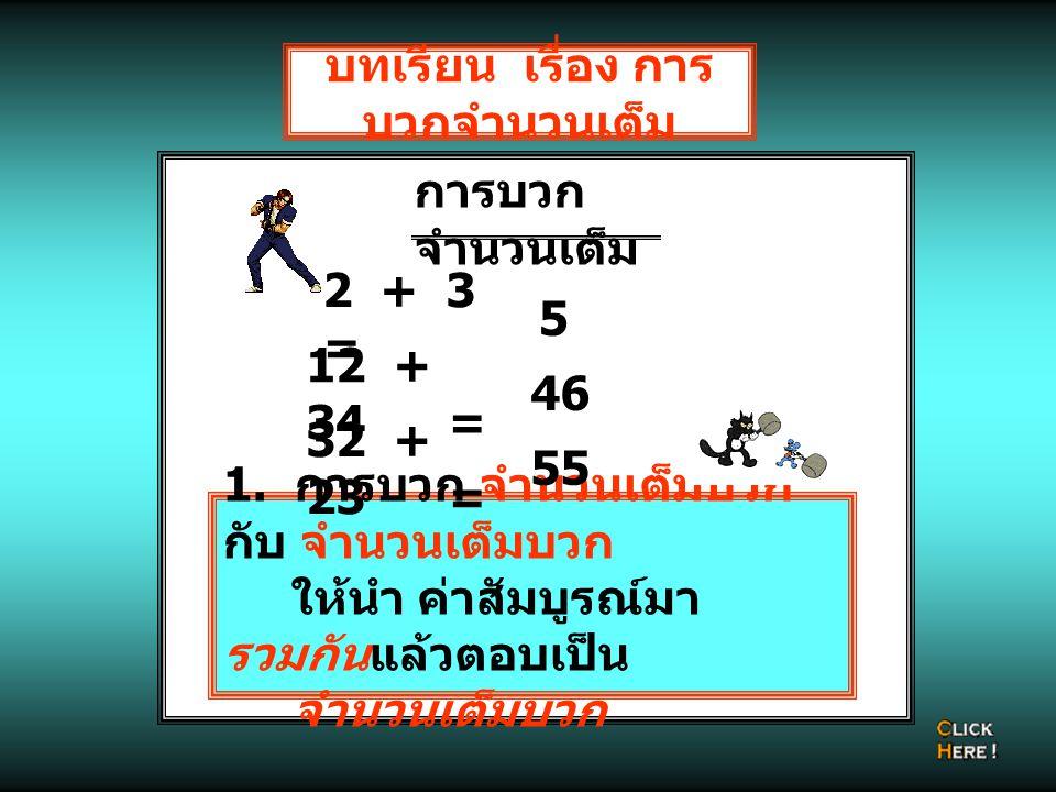 บทเรียน เรื่อง การ บวกจำนวนเต็ม 2 + 3 = 12 + 34 = การบวก จำนวนเต็ม 1. การบวก จำนวนเต็มบวก กับ จำนวนเต็มบวก ให้นำ ค่าสัมบูรณ์มา รวมกันแล้วตอบเป็น จำนวน