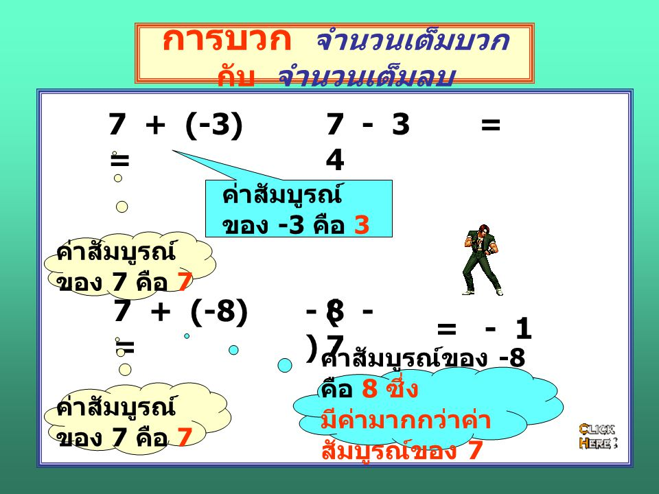 การบวก จำนวนเต็มบวก กับ จำนวนเต็มลบ 12 + (-34) = ค่าสัมบูรณ์ของ 12 คือ 12 ค่าสัมบูรณ์ของ - 34 คือ 34 ซึ่ง มีค่ามากกว่าค่า สัมบูรณ์ 12 34 - 12 (-67) + 89 = ค่าสัมบูรณ์ของ -67 คือ 67 ค่าสัมบูรณ์ของ 89 คือ 89 89 - 67 = 22 - ( ) = - 22