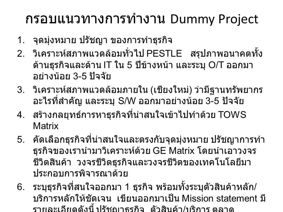 กรอบแนวทางการทำงาน Dummy Project 1.จุดมุ่งหมาย ปรัชญา ของการทำธุรกิจ 2.