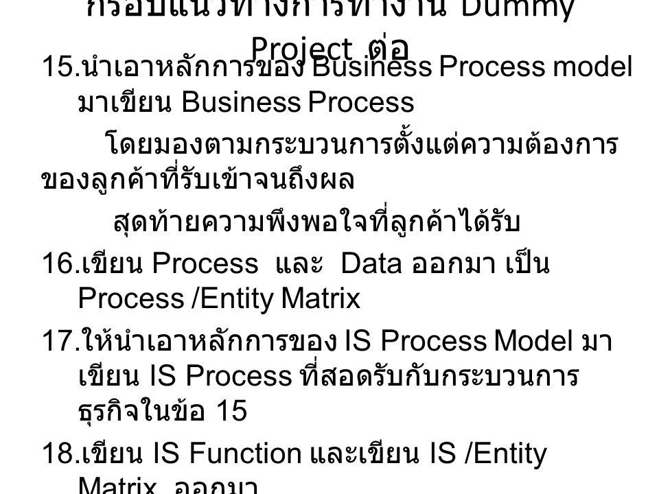 กรอบแนวทางการทำงาน Dummy Project ต่อ 15.