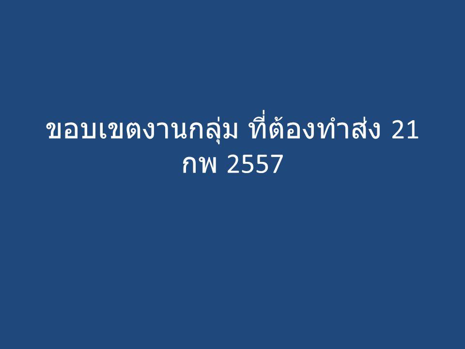 ขอบเขตงานกลุ่ม ที่ต้องทำส่ง 21 กพ 2557