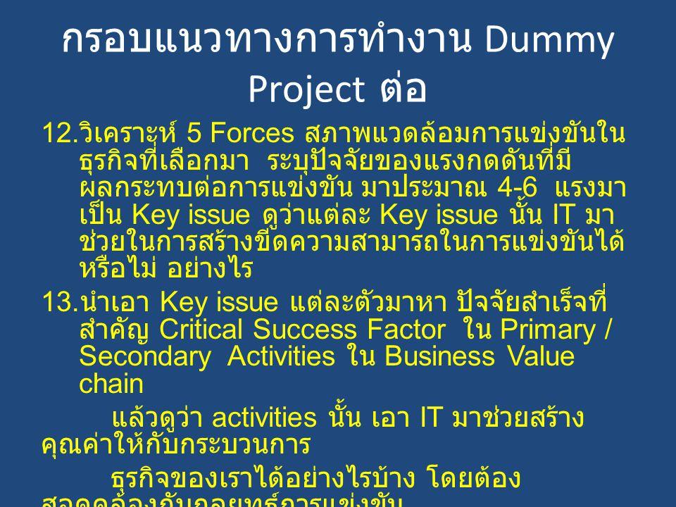 กรอบแนวทางการทำงาน Dummy Project ต่อ 12. วิเคราะห์ 5 Forces สภาพแวดล้อมการแข่งขันใน ธุรกิจที่เลือกมา ระบุปัจจัยของแรงกดดันที่มี ผลกระทบต่อการแข่งขัน ม