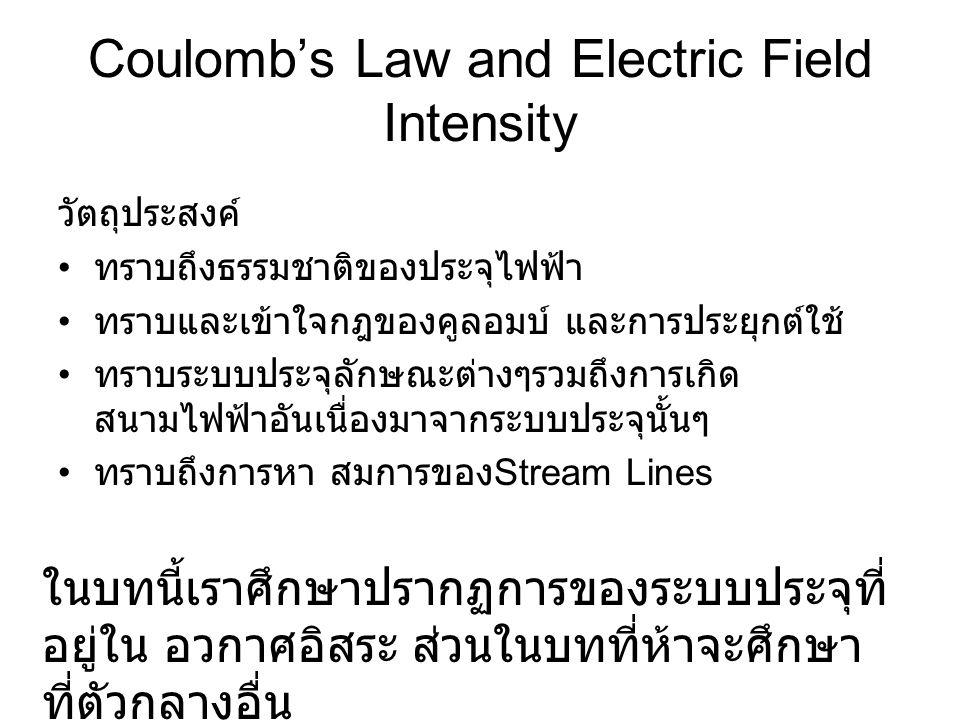 Coulomb's Law and Electric Field Intensity วัตถุประสงค์ • ทราบถึงธรรมชาติของประจุไฟฟ้า • ทราบและเข้าใจกฎของคูลอมบ์ และการประยุกต์ใช้ • ทราบระบบประจุลั