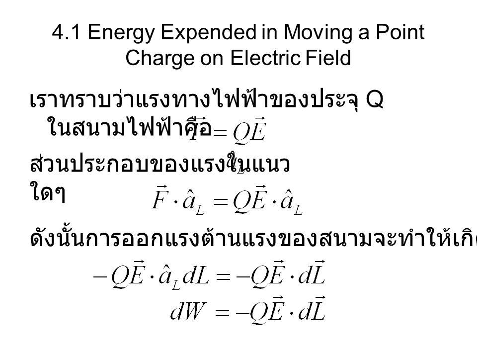 4.1 Energy Expended in Moving a Point Charge on Electric Field เราทราบว่าแรงทางไฟฟ้าของประจุ Q ในสนามไฟฟ้าคือ ดังนั้นการออกแรงต้านแรงของสนามจะทำให้เกิ