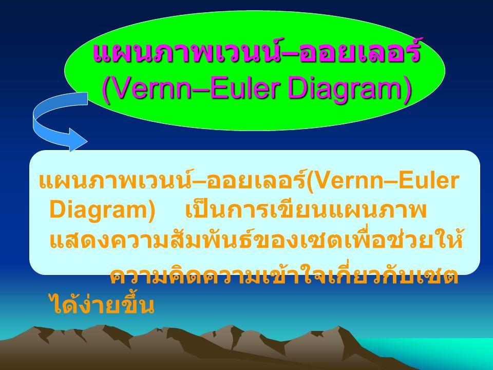 แผนภาพเวนน์ – ออยเลอร์ (Vernn–Euler Diagram) แผนภาพเวนน์ – ออยเลอร์ (Vernn–Euler Diagram) เป็นการเขียนแผนภาพ แสดงความสัมพันธ์ของเซตเพื่อช่วยให้ ความคิดความเข้าใจเกี่ยวกับเซต ได้ง่ายขึ้น