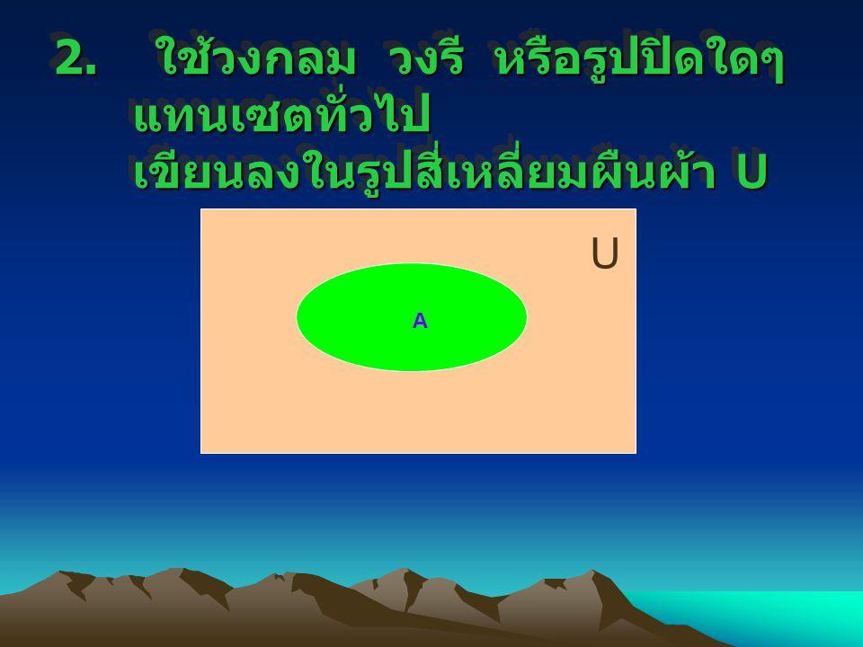 2. ใช้วงกลม วงรี หรือรูปปิดใดๆ แทนเซตทั่วไป เขียนลงในรูปสี่เหลี่ยมผืนผ้า U U A