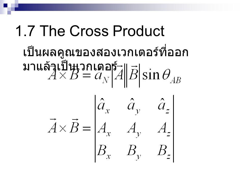 1.7 The Cross Product เป็นผลคูณของสองเวกเตอร์ที่ออก มาแล้วเป็นเวกเตอร์
