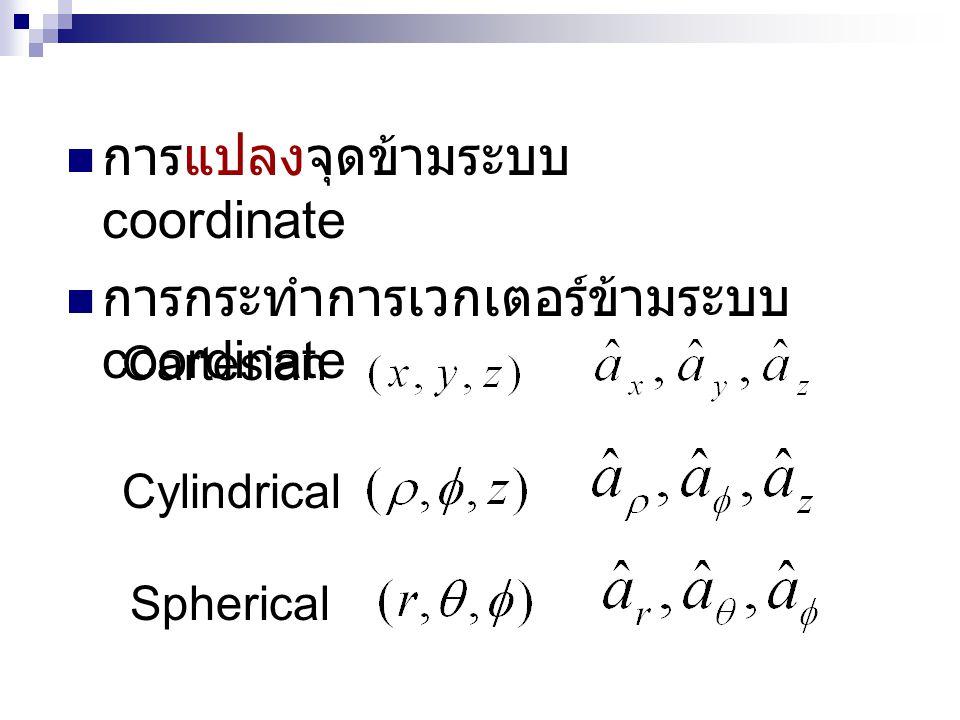  การแปลงจุดข้ามระบบ coordinate  การกระทำการเวกเตอร์ข้ามระบบ coordinate Cartesian Cylindrical Spherical