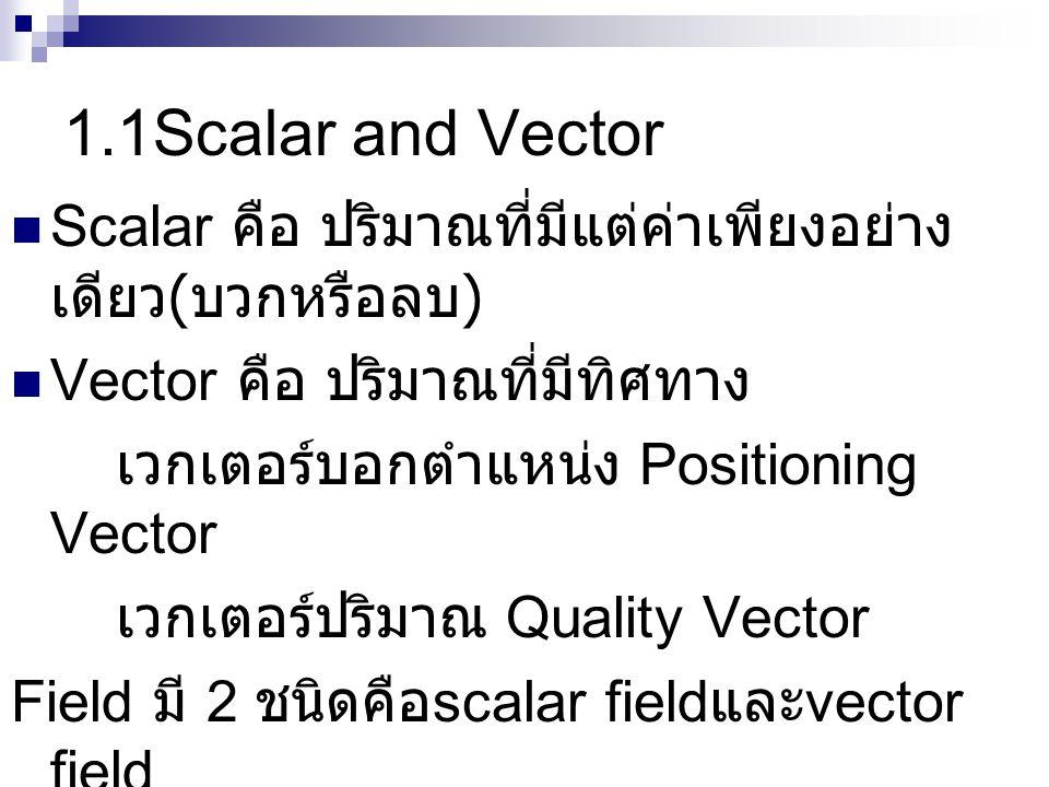 1.1Scalar and Vector  Scalar คือ ปริมาณที่มีแต่ค่าเพียงอย่าง เดียว ( บวกหรือลบ )  Vector คือ ปริมาณที่มีทิศทาง เวกเตอร์บอกตำแหน่ง Positioning Vector เวกเตอร์ปริมาณ Quality Vector Field มี 2 ชนิดคือ scalar field และ vector field คือช่วงบริเวณที่มี ปริมาณ scalar หรือ vector ปริมาณอยู่