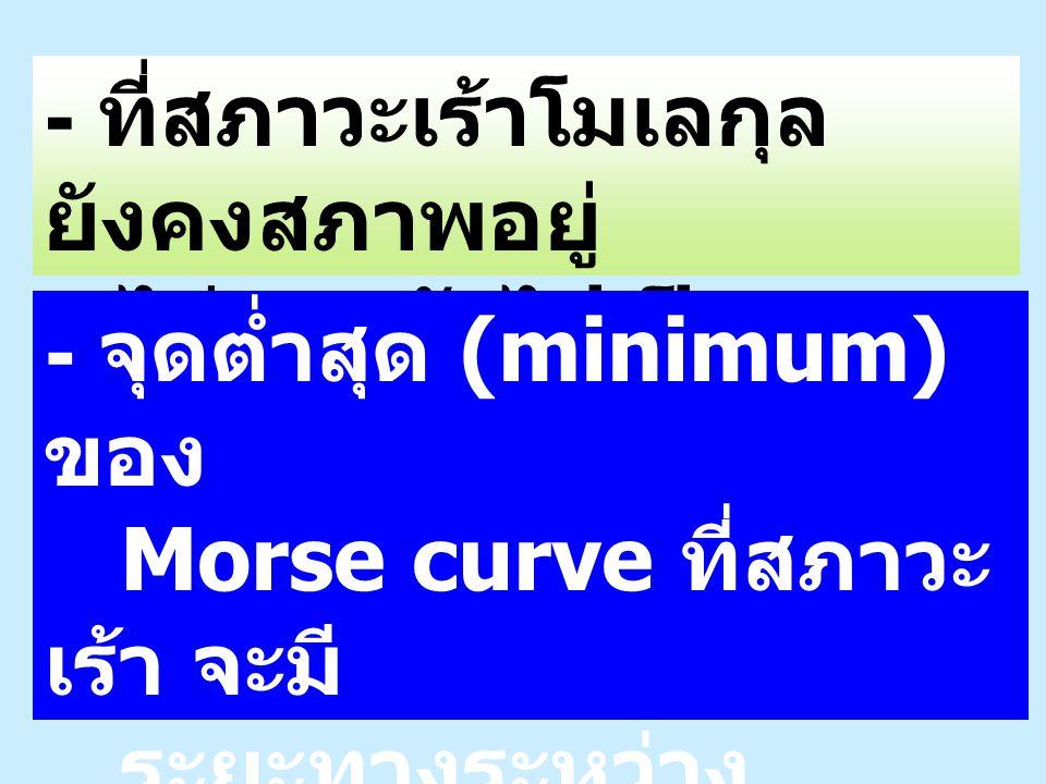- ที่สภาวะเร้าโมเลกุล ยังคงสภาพอยู่ ไม่แตกตัวไปเป็น ส่วนย่อย - จุดต่ำสุด (minimum) ของ Morse curve ที่สภาวะ เร้า จะมี ระยะทางระหว่าง นิวเคลียส มากกว่า ในกรณีของ สภาวะพื้น