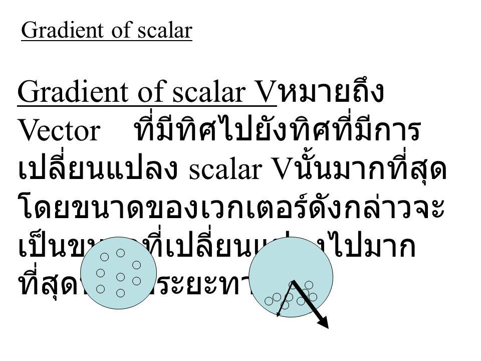 Gradient of scalar V หมายถึง Vector ที่มีทิศไปยังทิศที่มีการ เปลี่ยนแปลง scalar V นั้นมากที่สุด โดยขนาดของเวกเตอร์ดังกล่าวจะ เป็นขนาดที่เปลี่ยนแปลงไปมาก ที่สุดนั้นต่อระยะทาง Gradient of scalar