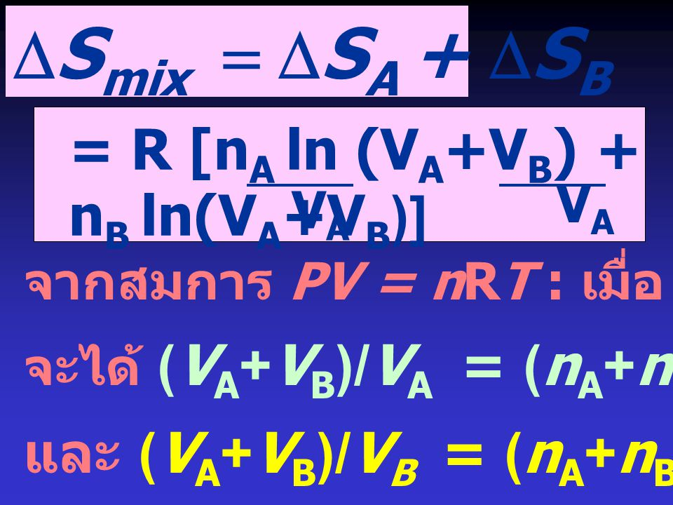  S mix  S A +  S B = R [n A ln (V A +V B ) + n B ln(V A +V B )] VAVA VAVA จากสมการ PV = nRT : เมื่อ P และ T คงที่ จะได้ (V A +V B )/V A = (n A +n B ) / n A = 1/ x A และ (V A +V B )/V B = (n A +n B ) / n B = 1/ x B