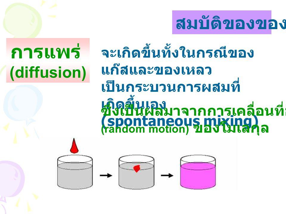 สมบัติของของเหลว จะเกิดขึ้นทั้งในกรณีของ แก๊สและของเหลว เป็นกระบวนการผสมที่ เกิดขึ้นเอง (spontaneous mixing) การแพร่ (diffusion) ซึ่งเป็นผลมาจากการเคลื่อนที่อย่างอิสระ (random motion) ของโมเลกุล
