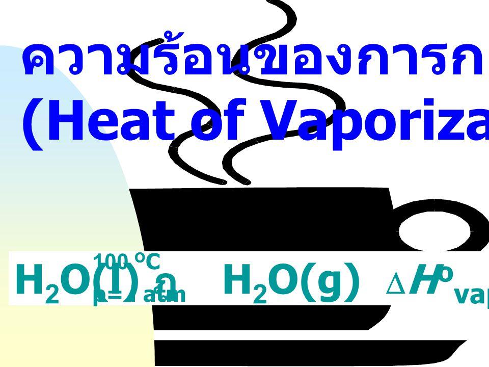 ความร้อนแฝงของการเปลี่ยนอัญรูป (Heat of Transformation) C (graphite) ฎ C (diamond)  H o = 1.9 kJ mol -1