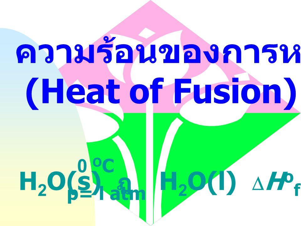 ความร้อนของการกลายเป็นไอ (Heat of Vaporization) H 2 O(l) ฎ  H 2 O(g)  H o vap = 44 kJ mol -1 100 O C p= l atm