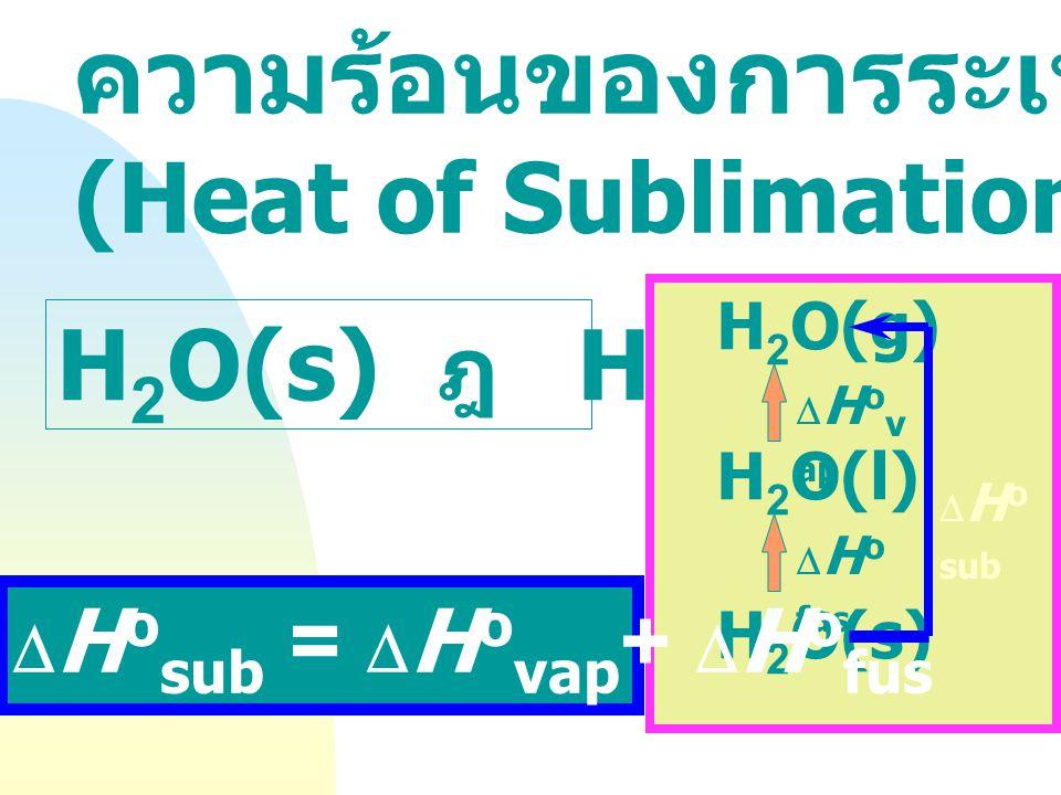 ความร้อนของการหลอมเหลว (Heat of Fusion) H 2 O(s) ฎ  H 2 O(l)  H o fus = 6 kJ mol -1 0 O C p= l atm