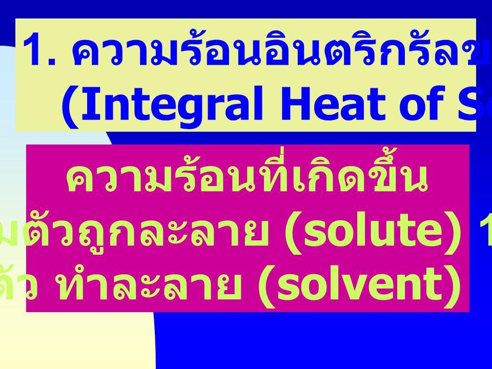 ความร้อนของการละลาย (Heat of Solution) ความร้อนที่เกิดขึ้นจาก การละลาย ของสารประกอบ ของแข็ง ในตัวทำละลาย หรือ การผสมกัน ของของเหลว