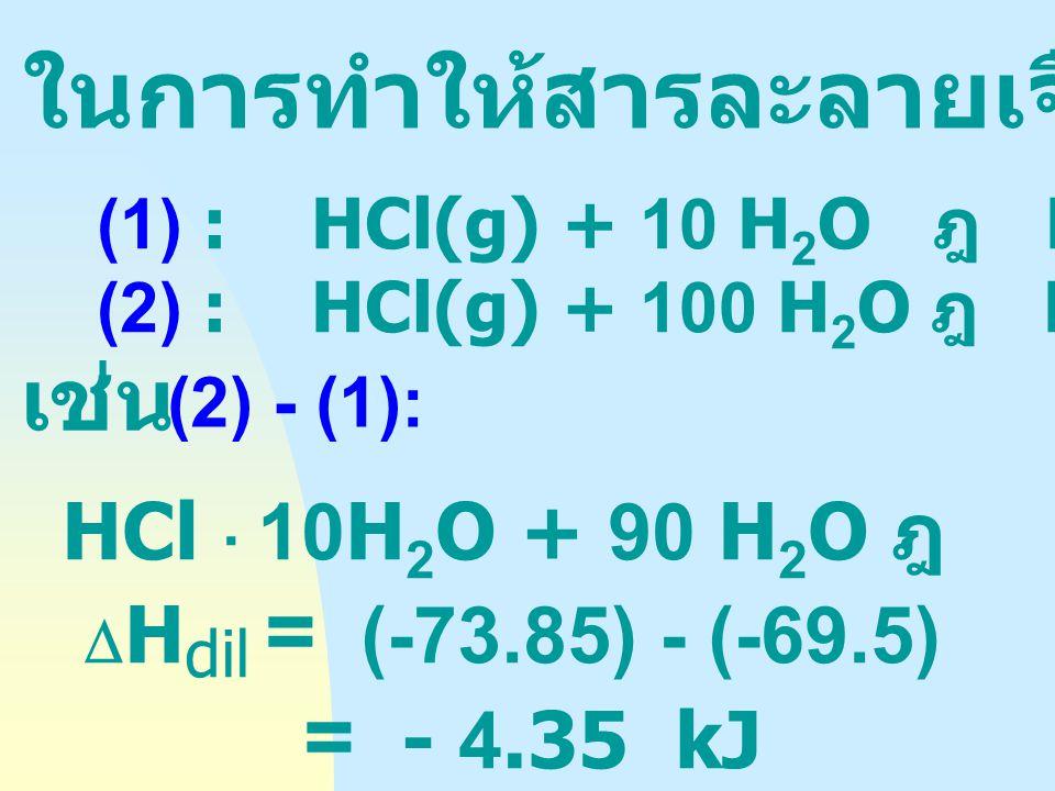 HCl(g) + 5 H 2 O ฎ  HCl. 5 H 2 O  int = - 64.06 kJ HCl(g) + 10 H 2 O ฎ  HCl. 10 H 2 O = - 69.5 HCl(g) + 100 H 2 O ฎ  HCl. 100 H 2 O = - 73.