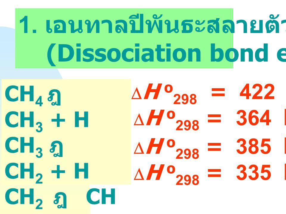 Bond Energy (Bond Enthalpy) พลังงานที่ใช้เพื่อ เอาชนะแรงดึงดูด ระหว่างอะตอม เพื่อสลายพันธะของ โมเลกุล A B ฎ  A + B  H =....
