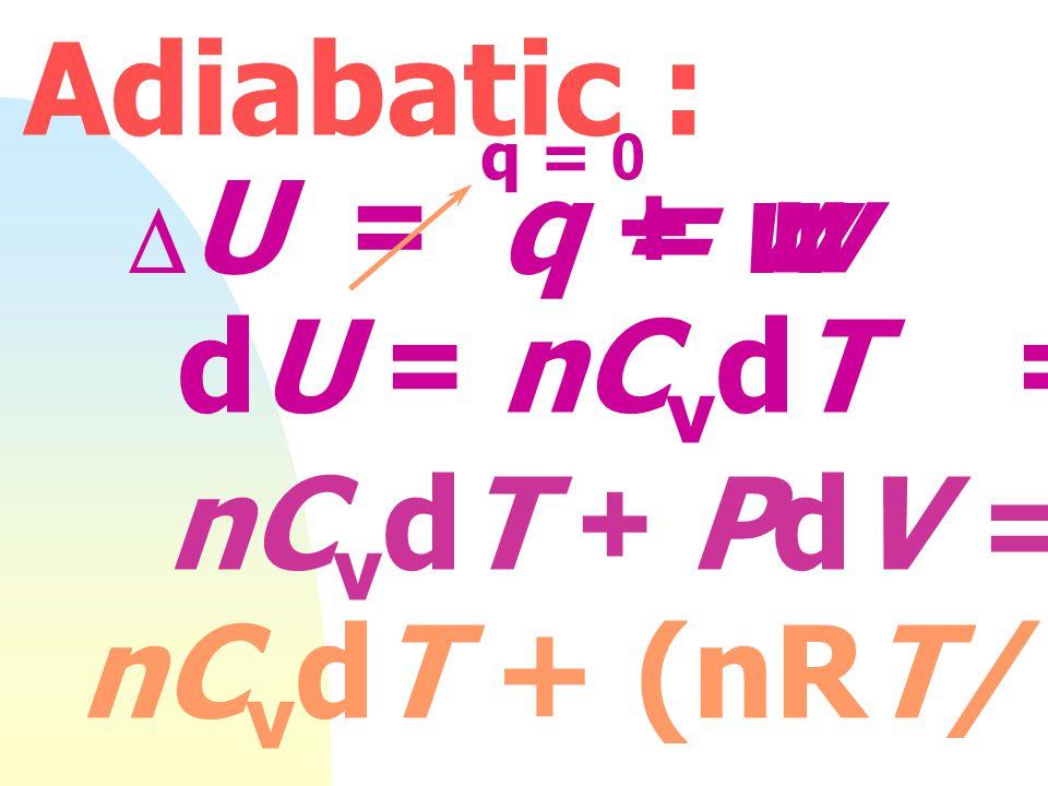 Isothermal : T คงที่ PV = nRT P 1 V 1 = P 2 V 2 P V 1/V slope = nRT P