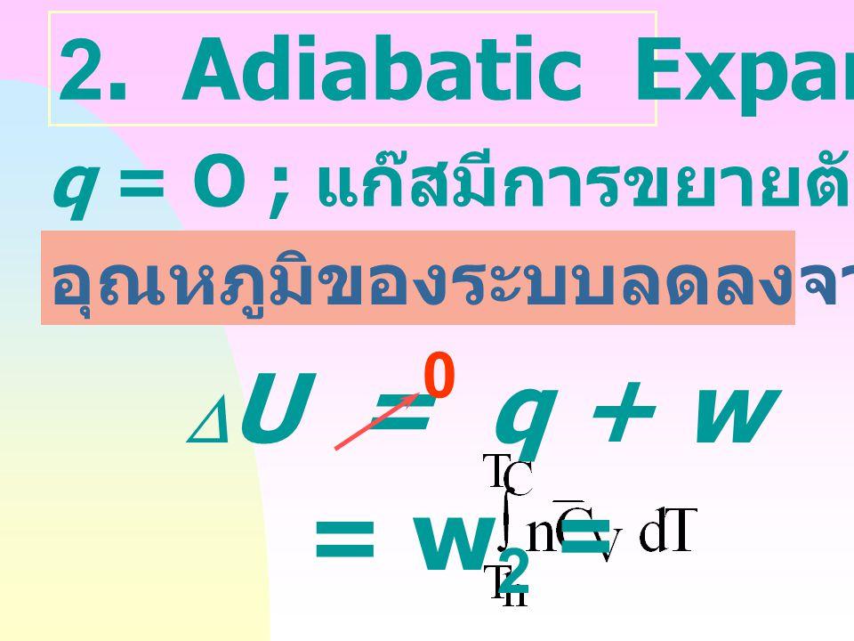 1. Isothermal Expansion ที่อุณหภูมิคงที่ T h ; ระบบได้รับความร้อน q h ทำให้เกิดการขยายตัวจากปริมาตร V 1 ฎ  V 2  U = q + w 0