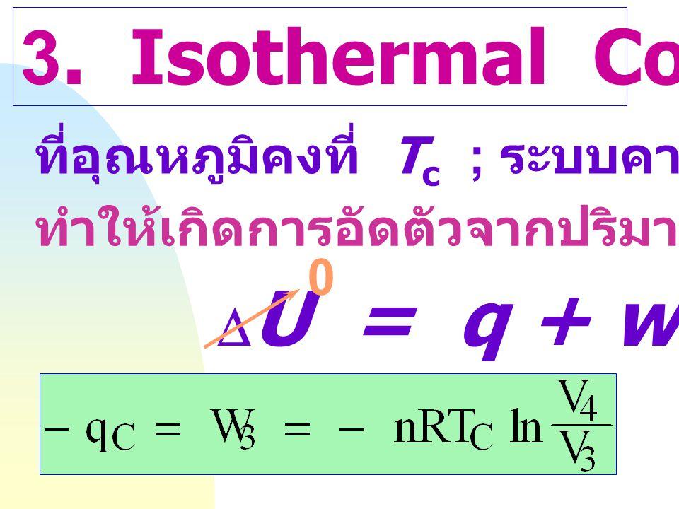 2. Adiabatic Expansion q = O ; แก๊สมีการขยายตัวจาก V 2 ฎ  V 3 อุณหภูมิของระบบลดลงจาก T h ฎ  T c  U = q + w 0 = w 2 =