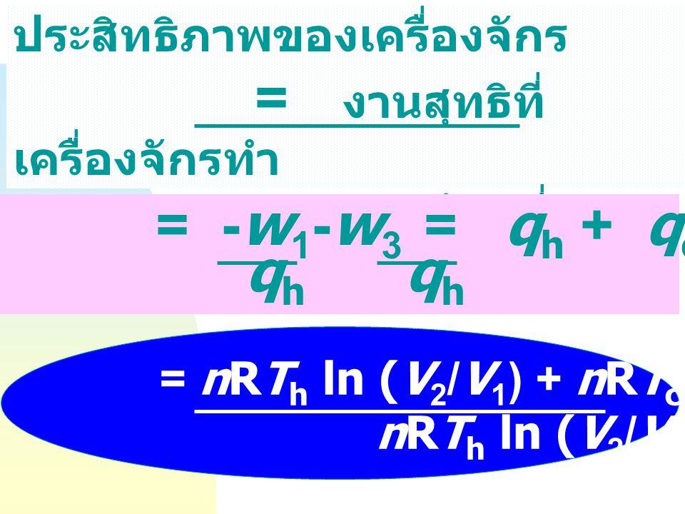 งานสุทธิที่เครื่องจักรทำ = งานการขยายตัว - งานการอัดตัว = (-W 1 -W 2 ) - (W 3 + W 4 ) = - W 1 - W 3 = q h + q c