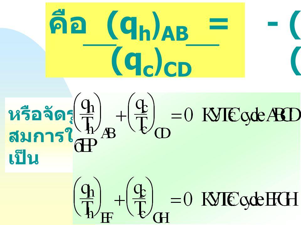 """พิจารณา Carnot Cycle """" ย่อย """" : ABCD และ EFGH งานเนื่องมาจากการขยายตัวแบบ Adiabatic (BC, FG) มีค่าเท่ากับ งานการอัดตัว (DA, HE) แต่มีเครื่องหมายตรงข้า"""