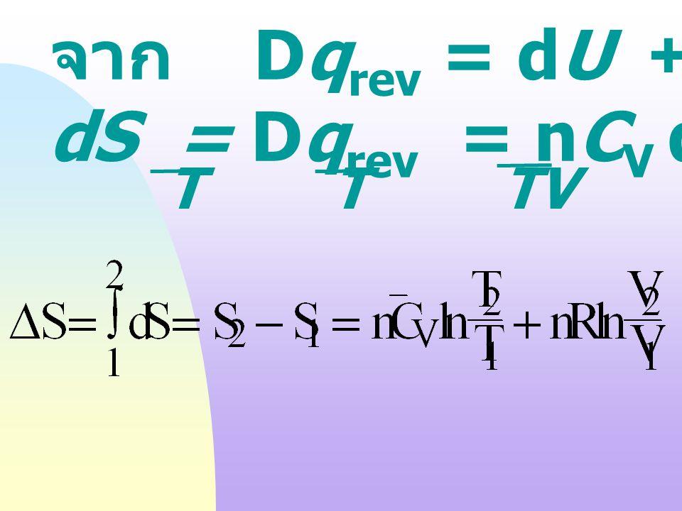 สำหรับ reversible process : dU dU = TdS TdS - PdVPdV สังเกตได้ว่า U = U (S,V) เป็นสมการ ที่แสดง ความสัมพั นธ์ ระหว่างกฏ ข้อที่ 1 และ กฏข้อที่ 2 ของเทอ