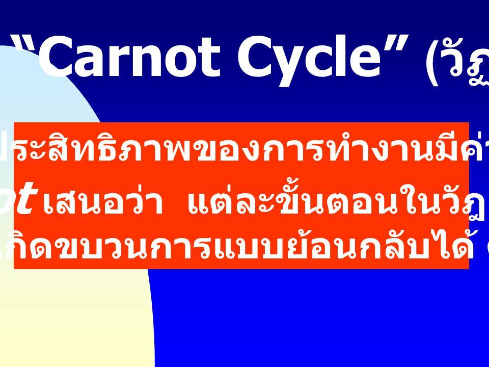 เพื่อให้ประสิทธิภาพของการทำงานมีค่าสูงสุด Carnot เสนอว่า แต่ละขั้นตอนในวัฎจักรนั้น ควรเกิดขบวนการแบบย้อนกลับได้ ดังนี้ Carnot Cycle ( วัฏจักรคาร์โนต์ )