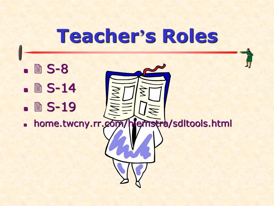 Teacher ' s Roles   S-8   S-14   S-19  home.twcny.rr.com/hiemstra/sdltools.html