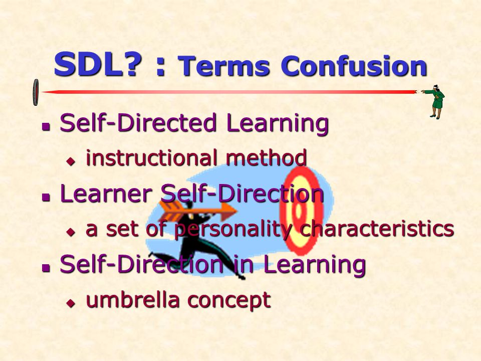 SDL? : Terms Confusion  Self-Directed Learning  instructional method  Learner Self-Direction  a set of personality characteristics  Self-Directio