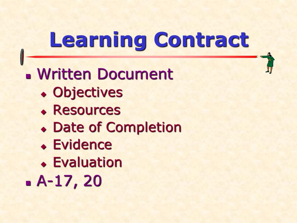Learning Contract  Written Document  Objectives  Resources  Date of Completion  Evidence  Evaluation  A-17, 20